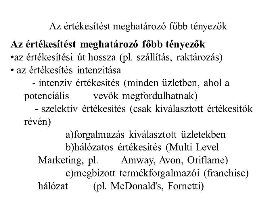 Az értékesítést meghatározó főbb tényezők az értékesítési út hossza (pl. szállítás, raktározás) az értékesítés intenzitása - intenzív értékesítés (min