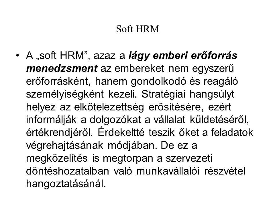 """Soft HRM A """"soft HRM"""", azaz a lágy emberi erőforrás menedzsment az embereket nem egyszerű erőforrásként, hanem gondolkodó és reagáló személyiségként k"""