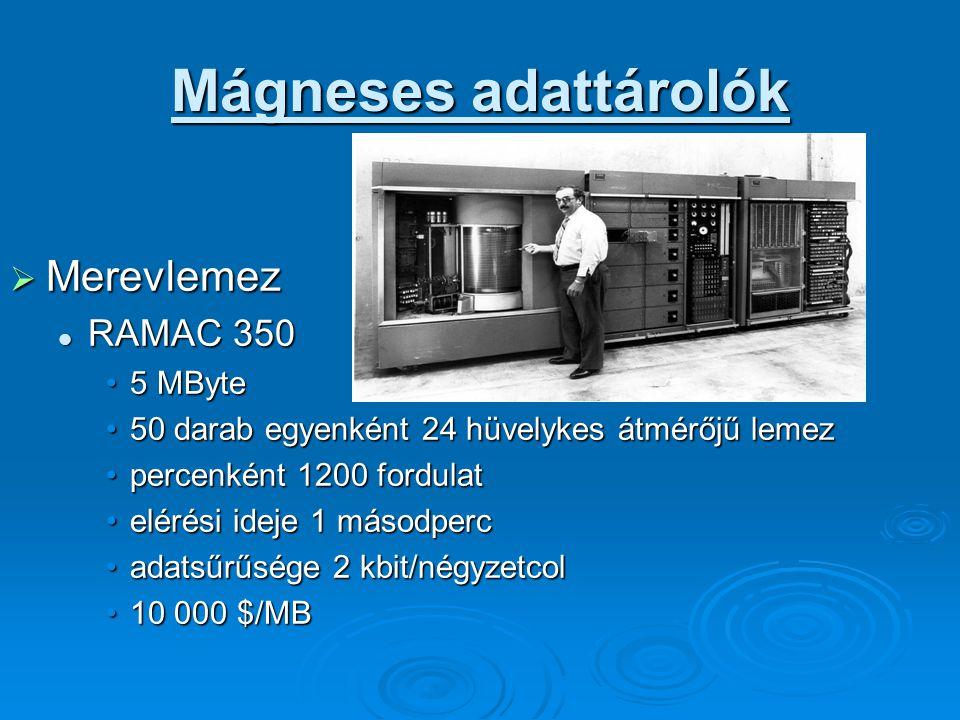  Merevlemez RAMAC 350 RAMAC 350 5 MByte5 MByte 50 darab egyenként 24 hüvelykes átmérőjű lemez50 darab egyenként 24 hüvelykes átmérőjű lemez percenként 1200 fordulatpercenként 1200 fordulat elérési ideje 1 másodpercelérési ideje 1 másodperc adatsűrűsége 2 kbit/négyzetcoladatsűrűsége 2 kbit/négyzetcol 10 000 $/MB10 000 $/MB