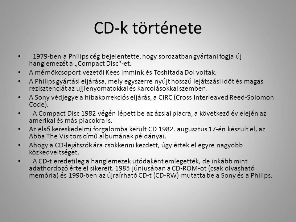 """CD-k története 1979-ben a Philips cég bejelentette, hogy sorozatban gyártani fogja új hanglemezét a """"Compact Disc"""
