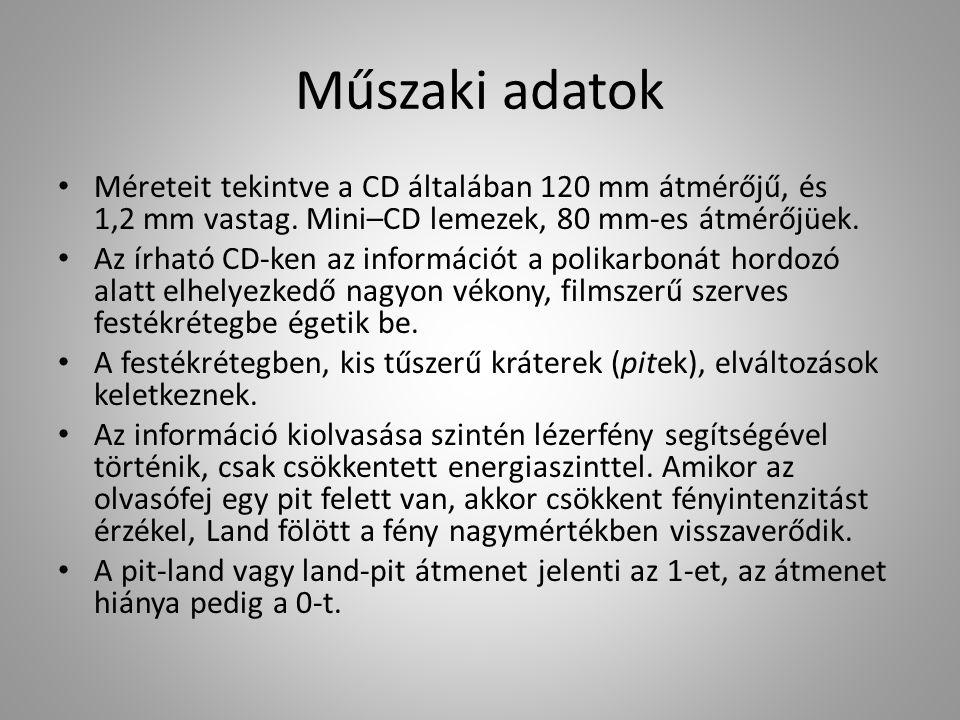 Műszaki adatok Méreteit tekintve a CD általában 120 mm átmérőjű, és 1,2 mm vastag. Mini–CD lemezek, 80 mm-es átmérőjüek. Az írható CD-ken az informáci