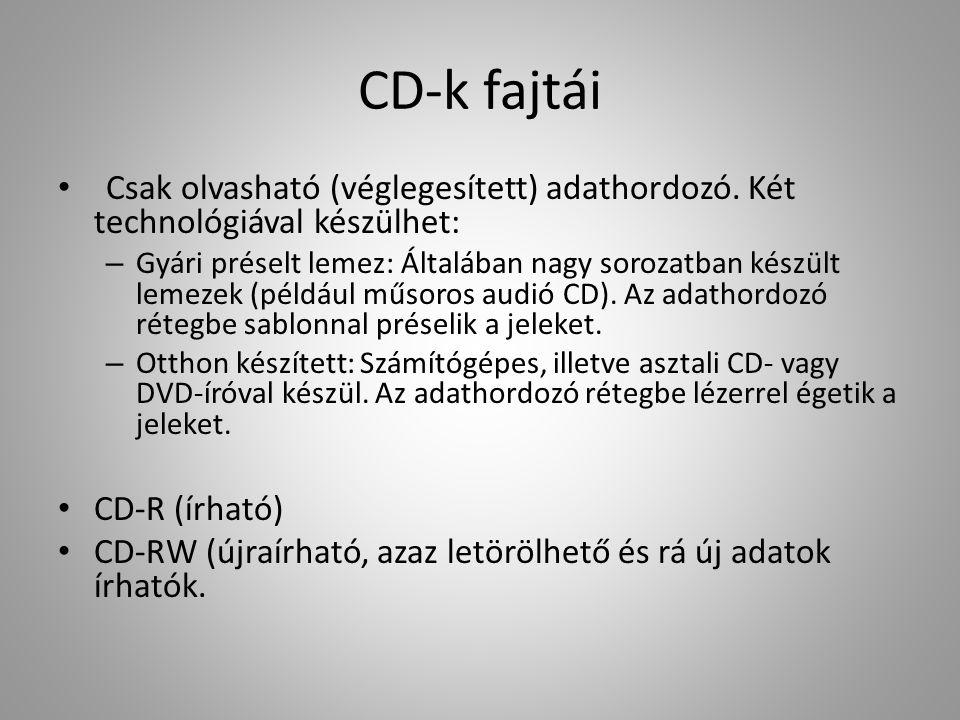 CD-k fajtái Csak olvasható (véglegesített) adathordozó. Két technológiával készülhet: – Gyári préselt lemez: Általában nagy sorozatban készült lemezek