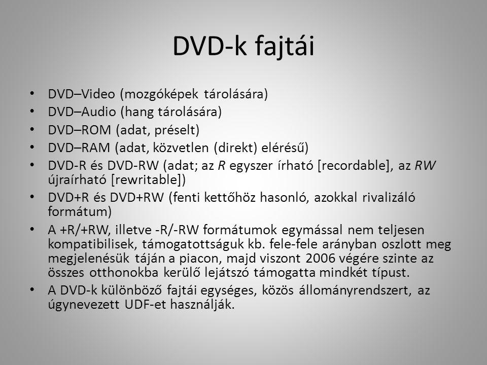DVD-k fajtái DVD–Video (mozgóképek tárolására) DVD–Audio (hang tárolására) DVD–ROM (adat, préselt) DVD–RAM (adat, közvetlen (direkt) elérésű) DVD-R és