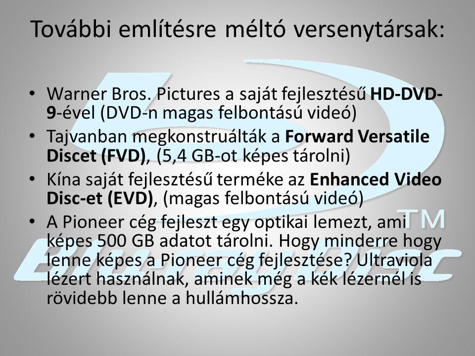 További említésre méltó versenytársak: Warner Bros. Pictures a saját fejlesztésű HD-DVD- 9-ével (DVD-n magas felbontású videó) Tajvanban megkonstruált