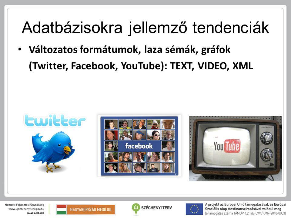 Adatbázisokra jellemző tendenciák Változatos formátumok, laza sémák, gráfok (Twitter, Facebook, YouTube): TEXT, VIDEO, XML