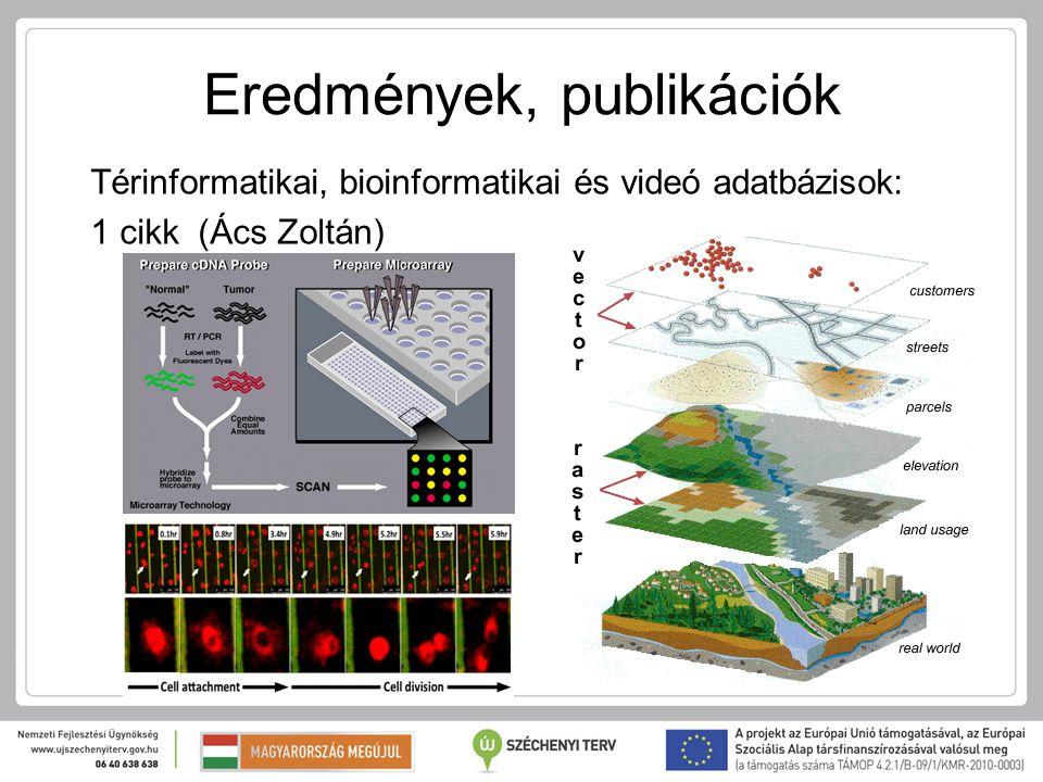 Eredmények, publikációk Térinformatikai, bioinformatikai és videó adatbázisok: 1 cikk (Ács Zoltán)