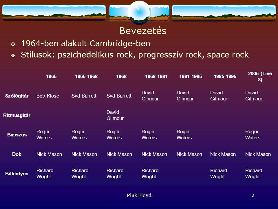 Pink Floyd2 Bevezetés  1964-ben alakult Cambridge-ben  Stílusok: pszichedelikus rock, progresszív rock, space rock 19651965-196819681968-19811981-19851985-1995 2005 (Live 8) SzólógitárBob KloseSyd Barrett David Gilmour Ritmusgitár David Gilmour Basszus Roger Waters DobNick Mason Billentyűs Richard Wright