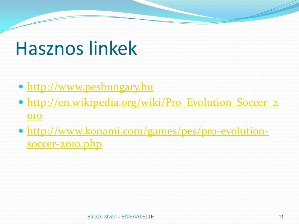 Hasznos linkek http://www.peshungary.hu http://en.wikipedia.org/wiki/Pro_Evolution_Soccer_2 010 http://en.wikipedia.org/wiki/Pro_Evolution_Soccer_2 010 http://www.konami.com/games/pes/pro-evolution- soccer-2010.php http://www.konami.com/games/pes/pro-evolution- soccer-2010.php Balázs István - BAISAAI.ELTE11