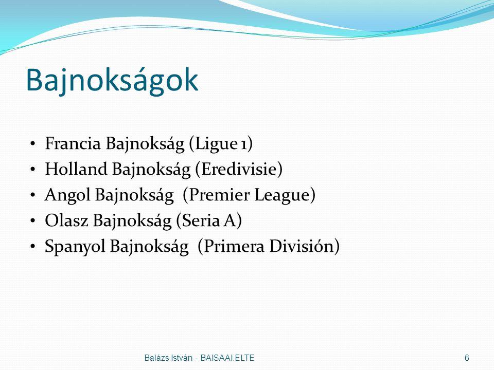 Bajnokságok Francia Bajnokság (Ligue 1) Holland Bajnokság (Eredivisie) Angol Bajnokság (Premier League) Olasz Bajnokság (Seria A) Spanyol Bajnokság (Primera División) Balázs István - BAISAAI.ELTE6
