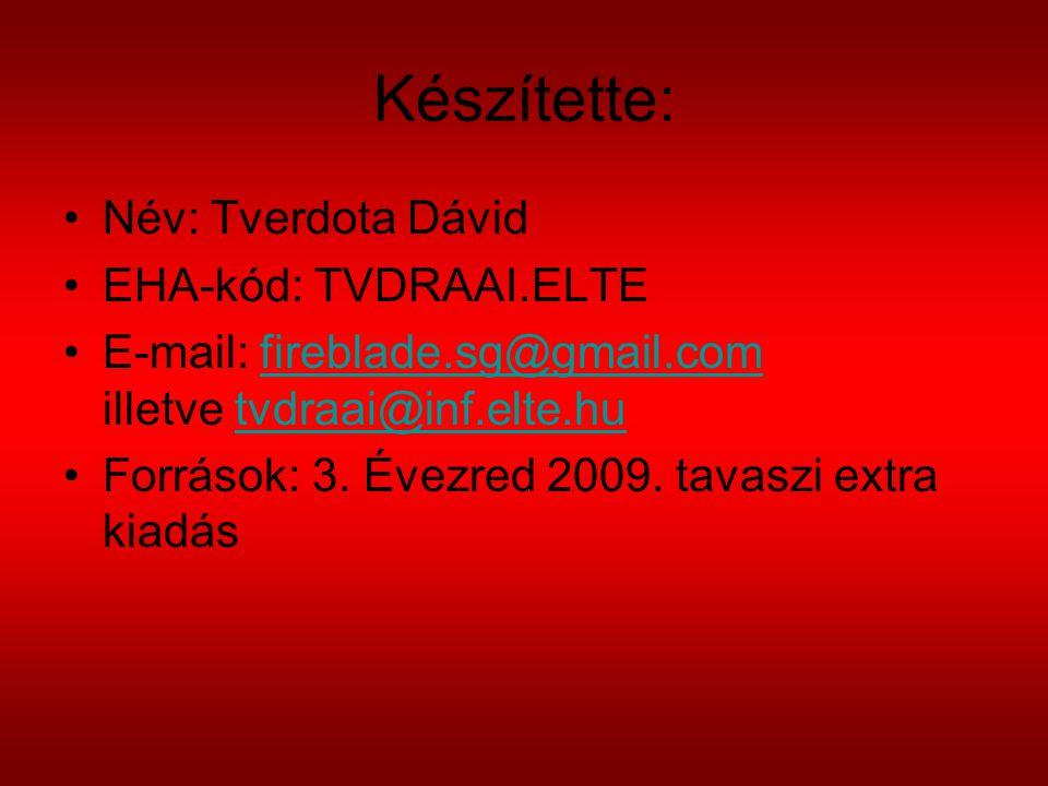 Készítette: Név: Tverdota Dávid EHA-kód: TVDRAAI.ELTE E-mail: fireblade.sg@gmail.com illetve tvdraai@inf.elte.hufireblade.sg@gmail.comtvdraai@inf.elte.hu Források: 3.