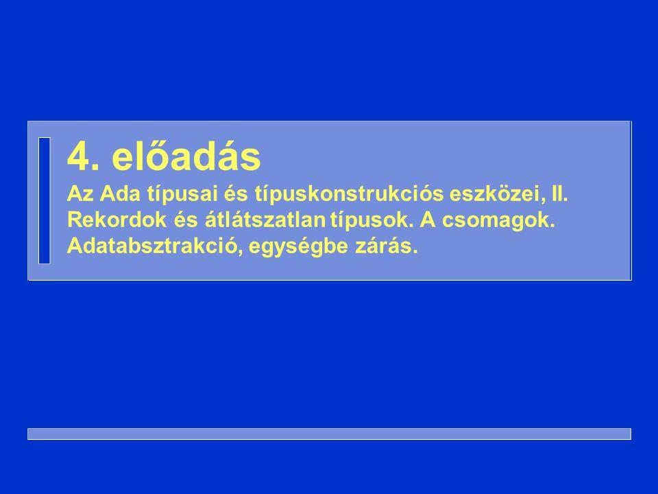 32 n Ha a diszkriminánssal rendelkező típus újabb diszkriminánssal rendelkező típust tartalmaz, akkor ennek a diszkriminánsa függhet a külső típus diszkriminánsaitól (és csak attól függhet…) type Könyv( Hossz: Positive ) is record ISBN: String(1..10); Tartalom: Szöveg(Hossz); end record ; Aktuális paraméter (2)
