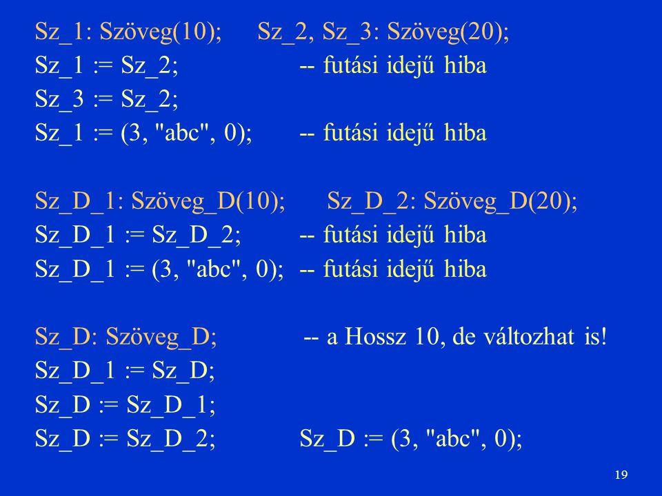 19 Sz_1: Szöveg(10); Sz_2, Sz_3: Szöveg(20); Sz_1 := Sz_2;-- futási idejű hiba Sz_3 := Sz_2; Sz_1 := (3,