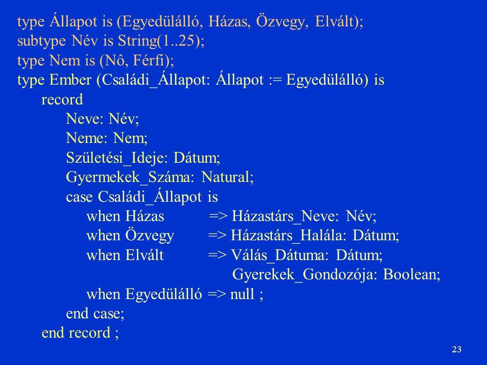 23 type Állapot is (Egyedülálló, Házas, Özvegy, Elvált); subtype Név is String(1..25); type Nem is (Nô, Férfi); type Ember (Családi_Állapot: Állapot :