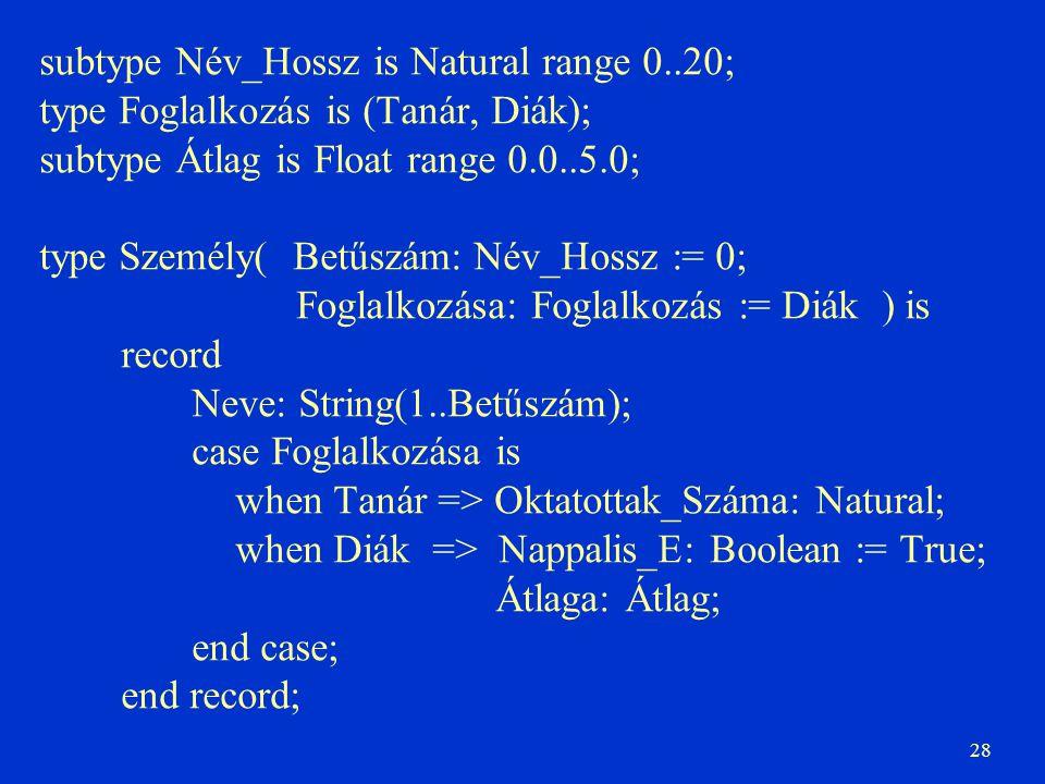 28 subtype Név_Hossz is Natural range 0..20; type Foglalkozás is (Tanár, Diák); subtype Átlag is Float range 0.0..5.0; type Személy( Betűszám: Név_Hos