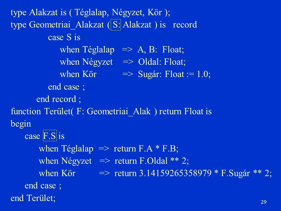 29 type Alakzat is ( Téglalap, Négyzet, Kör ); type Geometriai_Alakzat ( S: Alakzat ) is record case S is when Téglalap => A, B: Float; when Négyzet => Oldal: Float; when Kör => Sugár: Float := 1.0; end case ; end record ; function Terület( F: Geometriai_Alak ) return Float is begin case F.S is when Téglalap => return F.A * F.B; when Négyzet => return F.Oldal ** 2; when Kör => return 3.14159265358979 * F.Sugár ** 2; end case ; end Terület;