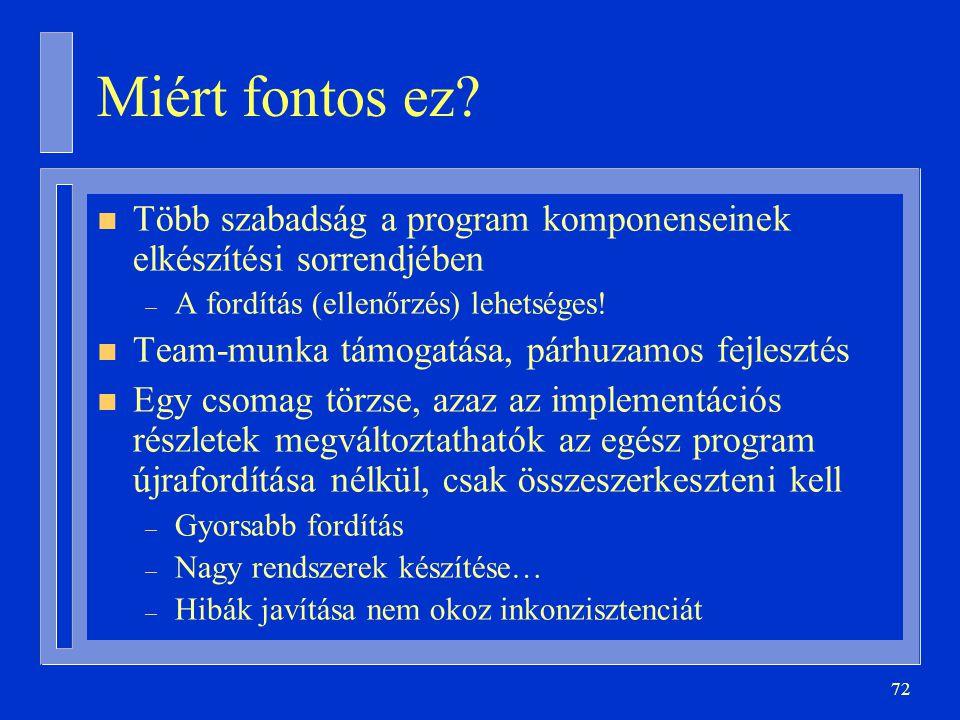72 Miért fontos ez? n Több szabadság a program komponenseinek elkészítési sorrendjében – A fordítás (ellenőrzés) lehetséges! n Team-munka támogatása,
