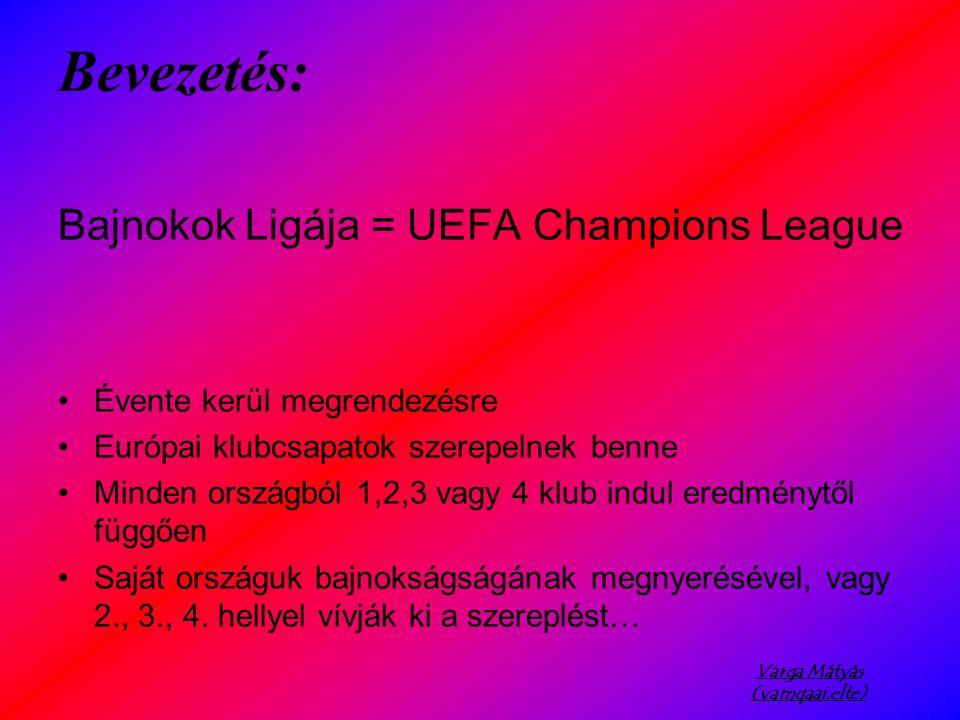 Varga Mátyás (vamqaai.elte) Bevezetés: Bajnokok Ligája = UEFA Champions League Évente kerül megrendezésre Európai klubcsapatok szerepelnek benne Minden országból 1,2,3 vagy 4 klub indul eredménytől függően Saját országuk bajnokságságának megnyerésével, vagy 2., 3., 4.