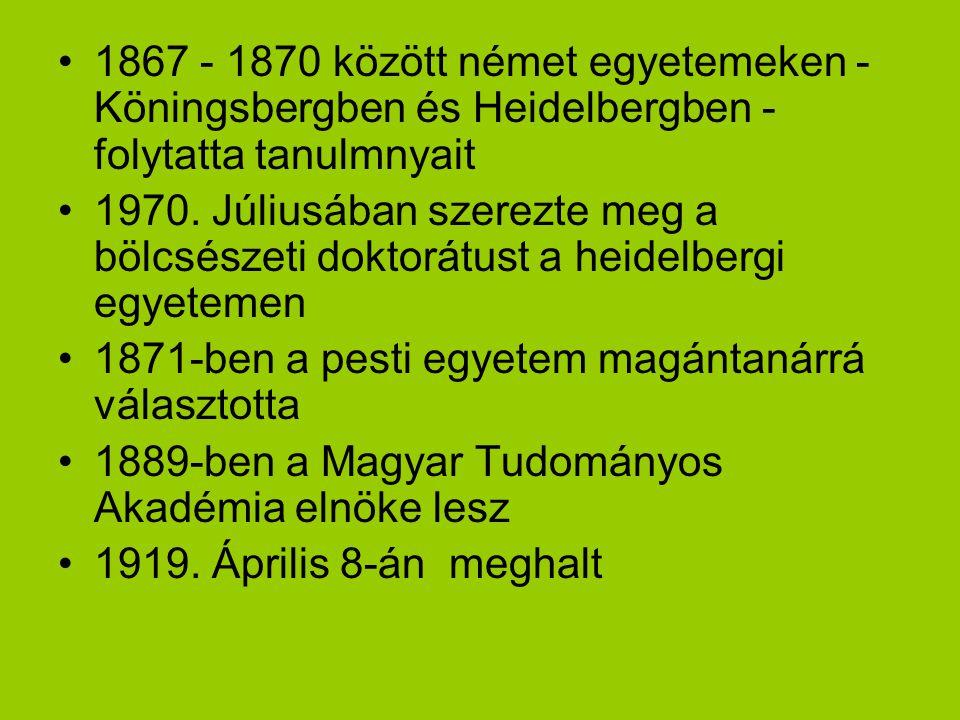 1867 - 1870 között német egyetemeken - Köningsbergben és Heidelbergben - folytatta tanulmnyait 1970. Júliusában szerezte meg a bölcsészeti doktorátust