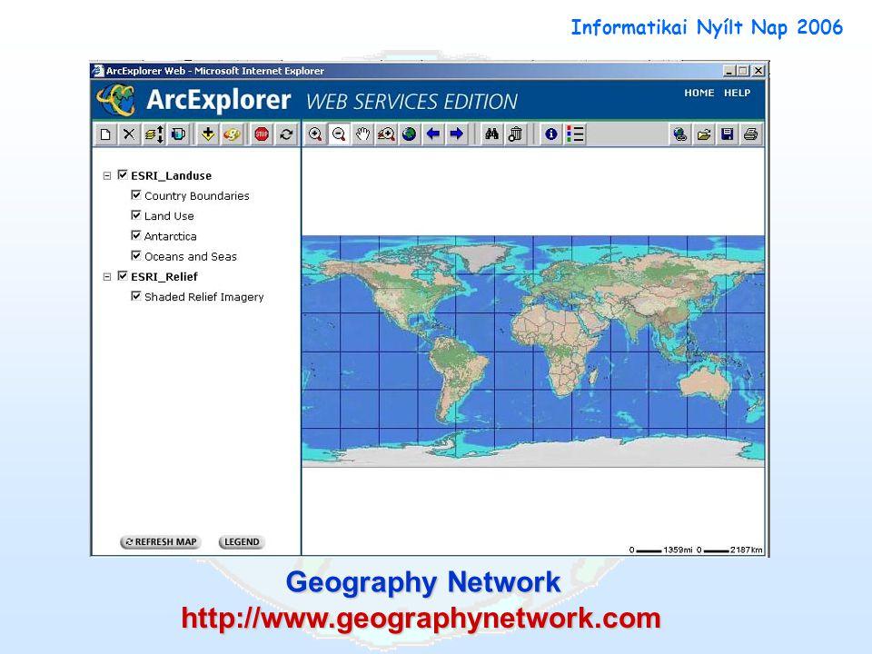Geography Network http://www.geographynetwork.com Informatikai Nyílt Nap 2006