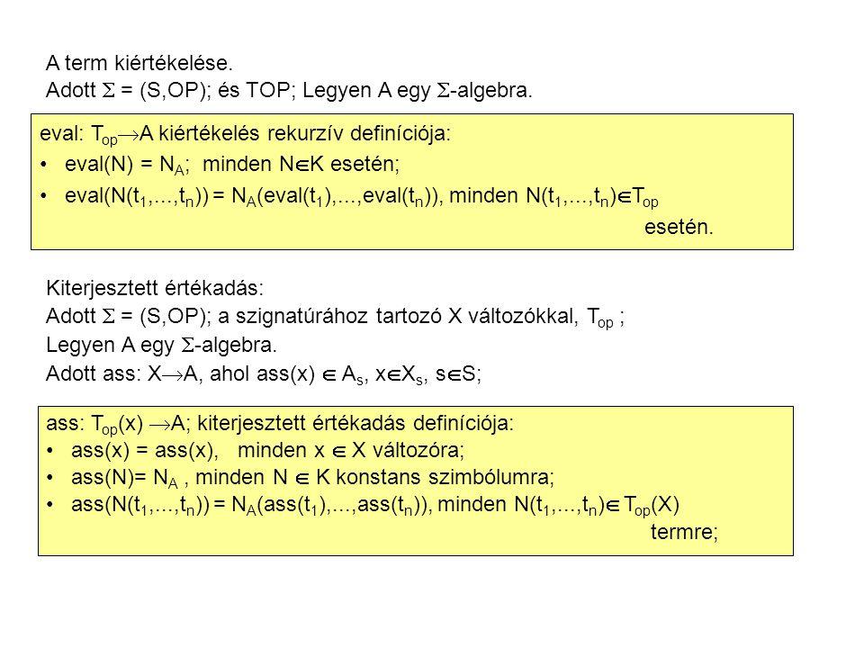 A term kiértékelése. Adott  = (S,OP); és TOP; Legyen A egy  -algebra. eval: T op  A kiértékelés rekurzív definíciója: eval(N) = N A ; minden N  K