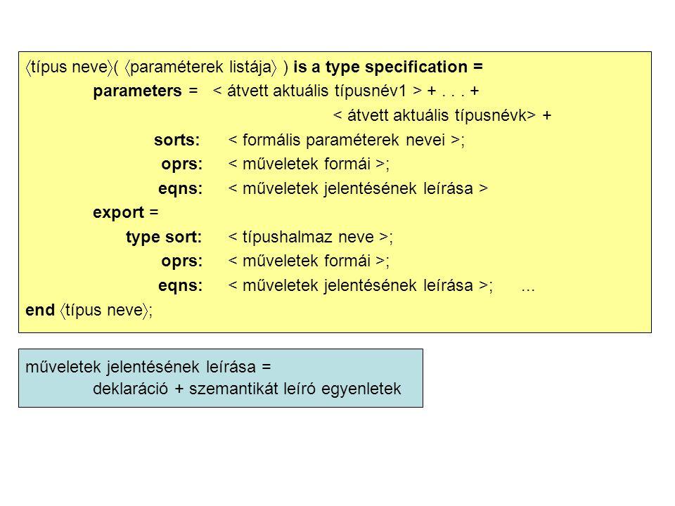  típus neve  (  paraméterek listája  ) is a type specification = parameters = +... + + sorts: ; oprs: ; eqns: export = type sort: ; oprs: ; eqns: