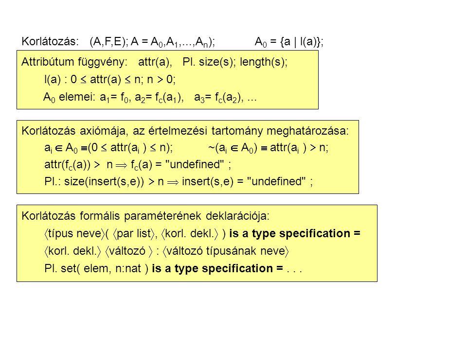 Korlátozás: (A,F,E); A = A 0,A 1,...,A n );A 0 = {a | l(a)}; Attribútum függvény: attr(a), Pl. size(s); length(s); l(a) : 0  attr(a)  n; n  0; A 0