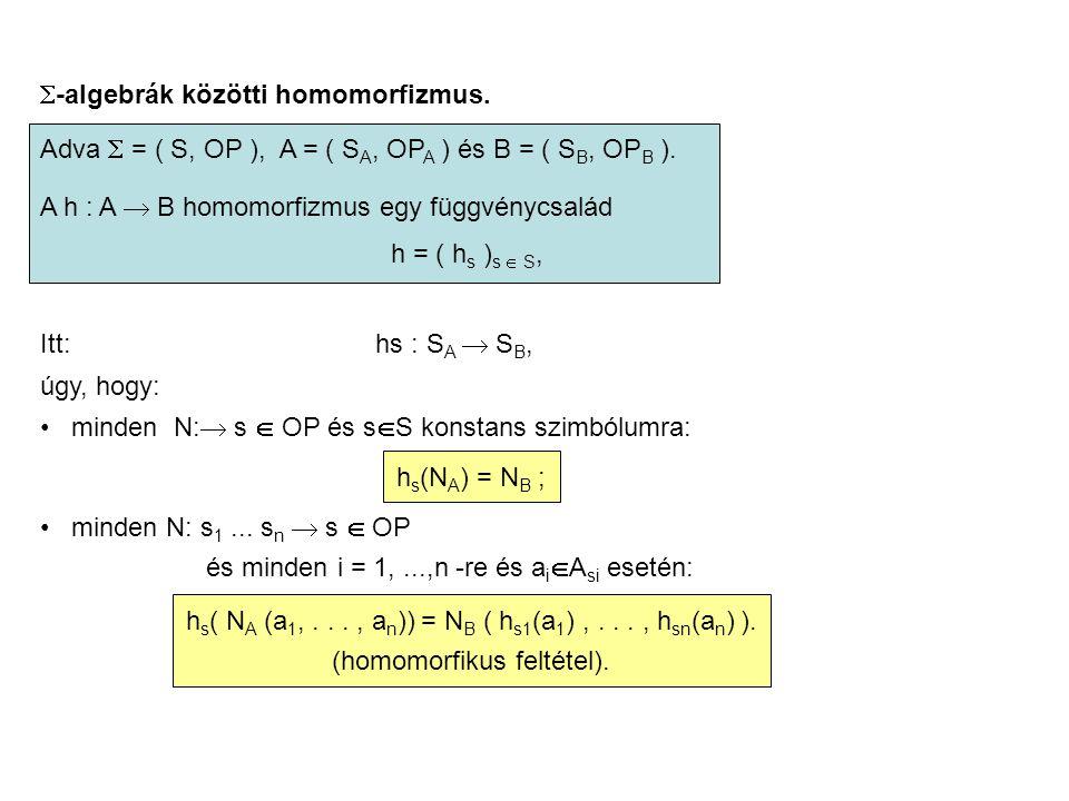  -algebrák közötti homomorfizmus. Adva  = ( S, OP ), A = ( S A, OP A ) és B = ( S B, OP B ). A h : A  B homomorfizmus egy függvénycsalád h = ( h s