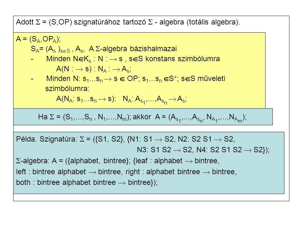 Adott  = (S,OP) szignatúrához tartozó  - algebra (totális algebra). A = (S A,OP A ); S A = (A s ) s  S, A s, A  -algebra bázishalmazai -Minden N 