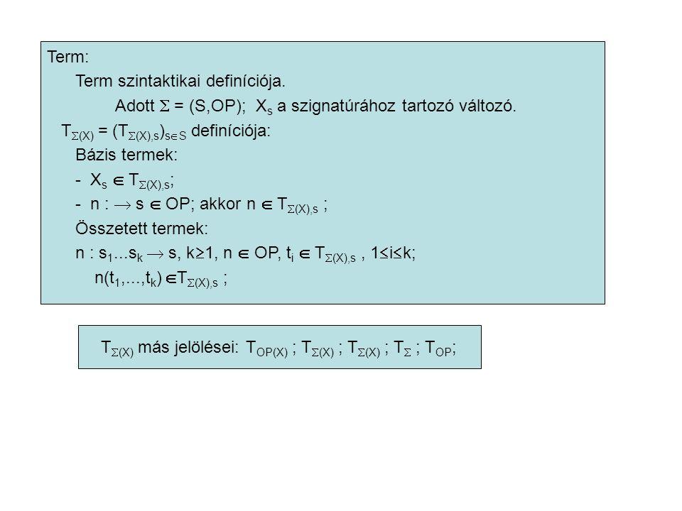 Term: Term szintaktikai definíciója. Adott  = (S,OP); X s a szignatúrához tartozó változó. T  (X) = (T  (X),s ) s  S definíciója: Bázis termek: -