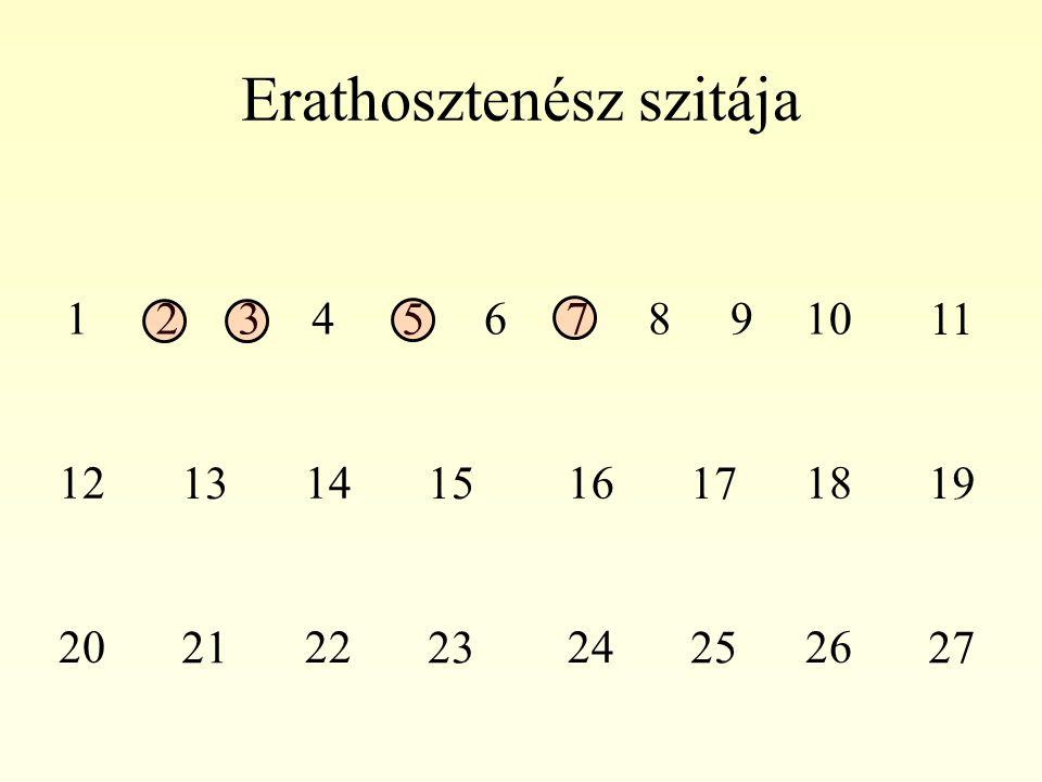 Erathosztenész szitája 1234 5 678910 11 12 13 14 15 16 17 18 19 20 21 22 23 24 25 26 27