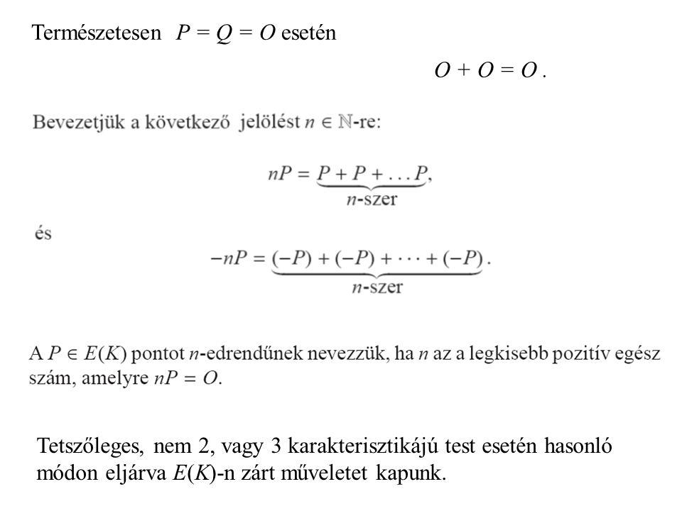 Természetesen P = Q = O esetén O + O = O. Tetszőleges, nem 2, vagy 3 karakterisztikájú test esetén hasonló módon eljárva E(K)-n zárt műveletet kapunk.