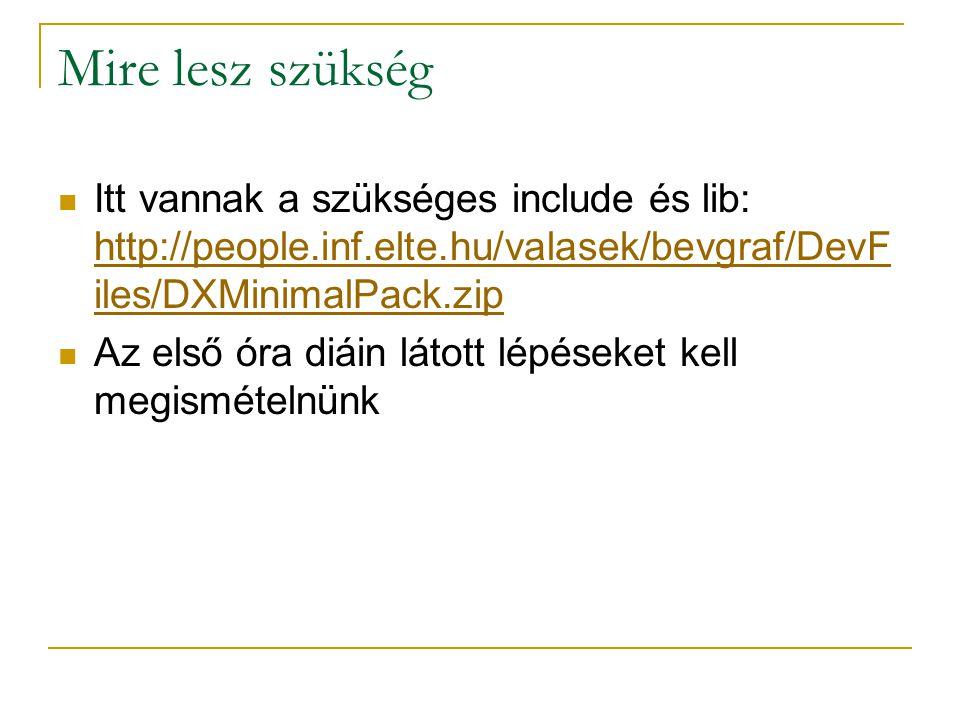 Mire lesz szükség Itt vannak a szükséges include és lib: http://people.inf.elte.hu/valasek/bevgraf/DevF iles/DXMinimalPack.zip http://people.inf.elte.hu/valasek/bevgraf/DevF iles/DXMinimalPack.zip Az első óra diáin látott lépéseket kell megismételnünk