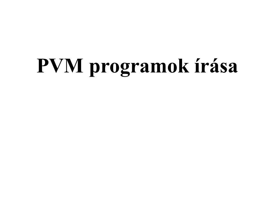 """Üzenetfogadás Üzenetsor (postaláda) Minden folyamatnak van egy üzenetsora pvm_recv( küldő, fejléc ); A -1 azt jelenti, hogy """"bármi pvm_recv( -1,-1 );"""