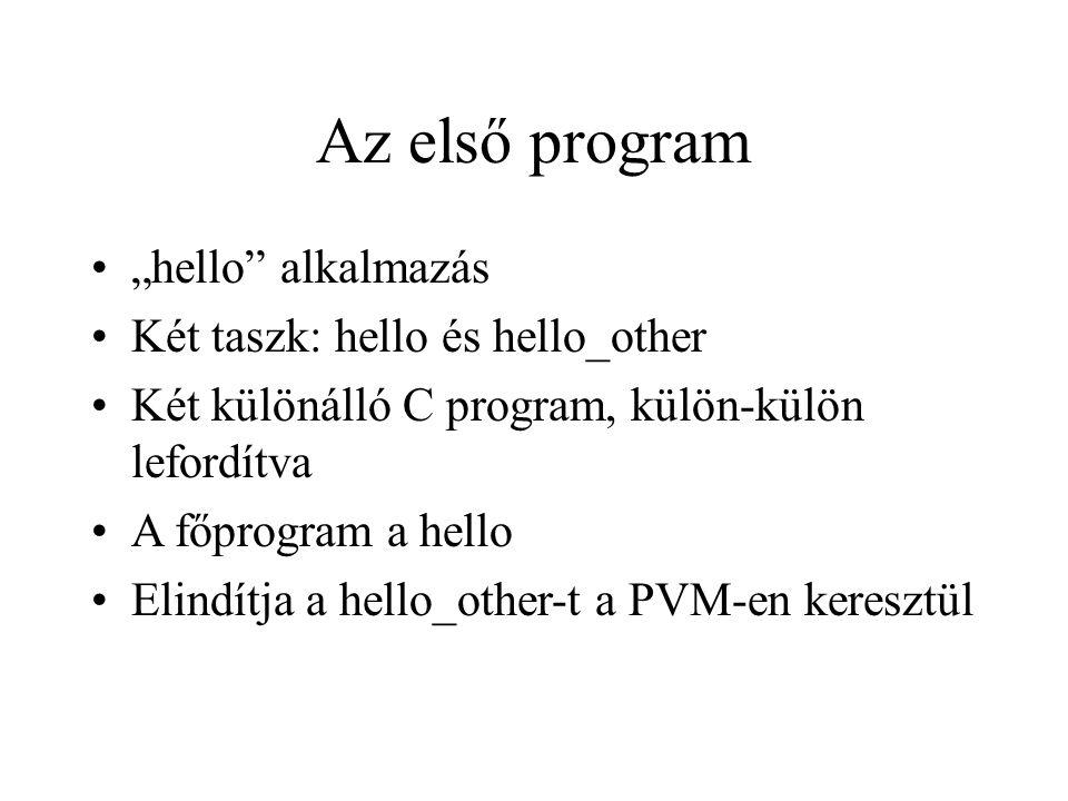 """Az első program """"hello"""" alkalmazás Két taszk: hello és hello_other Két különálló C program, külön-külön lefordítva A főprogram a hello Elindítja a hel"""