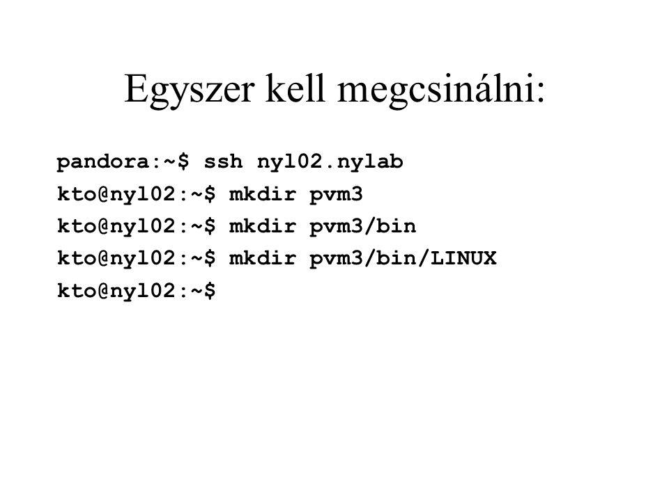 Egyszer kell megcsinálni: pandora:~$ ssh nyl02.nylab kto@nyl02:~$ mkdir pvm3 kto@nyl02:~$ mkdir pvm3/bin kto@nyl02:~$ mkdir pvm3/bin/LINUX kto@nyl02:~$