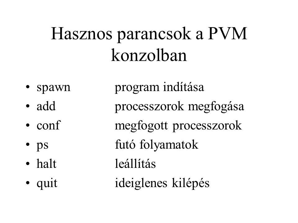 Hasznos parancsok a PVM konzolban spawnprogram indítása addprocesszorok megfogása confmegfogott processzorok psfutó folyamatok haltleállítás quitideiglenes kilépés