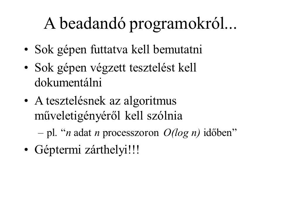 A beadandó programokról... Sok gépen futtatva kell bemutatni Sok gépen végzett tesztelést kell dokumentálni A tesztelésnek az algoritmus műveletigényé