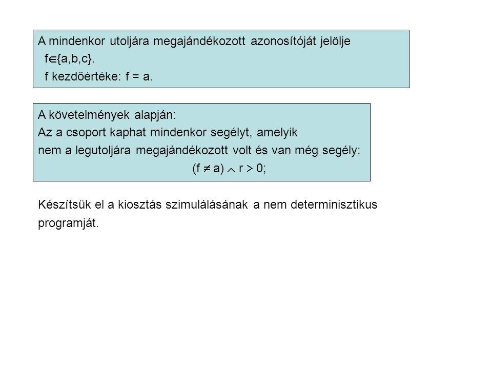 A mindenkor utoljára megajándékozott azonosítóját jelölje f  {a,b,c}.