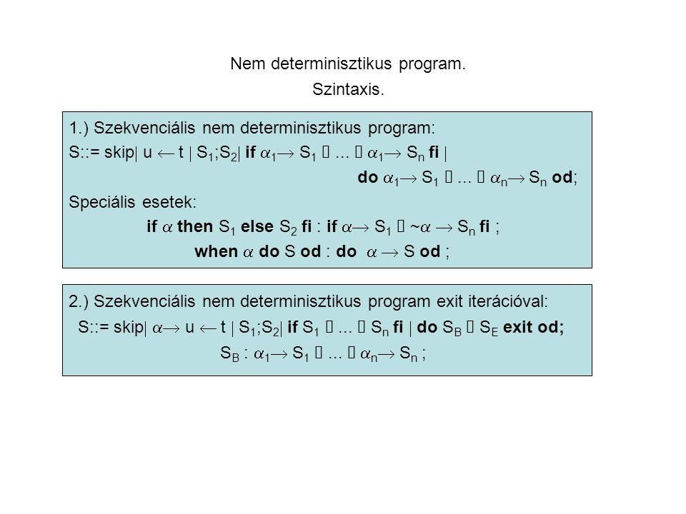 Nem determinisztikus program. Szintaxis.