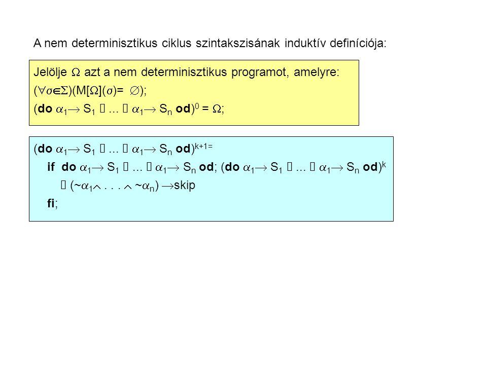 A nem determinisztikus program: T 1  pc 1 := 0; pc 2 := 0; do pc 1 := 0  i  min(oddtop,eventop)  pc 1 := 1; pc 1 := 0  ~(i  min(oddtop,eventop))  pc 1 := 4; pc 1 := 1  a[i]  0  pc 1 := 2; pc 1 := 1  ~(a[i]  0 )  pc 1 := 3; pc 1 := 2  oddtop:= i; pc 1 := 0; pc 1 := 3  i:= i+2; pc 1 := 0; pc 2 := 0  j  min(oddtop,eventop)  pc 2 := 1; pc 2 := 0  ~(j  min(oddtop,eventop))  pc 2 := 4; pc 2 := 1  a[j]  0  pc 2 := 2; pc 2 := 1  ~(a[j]  0 )  pc 2 := 3; pc 2 := 2  oddtop:= j; pc 2 := 0; pc 2 := 3  j:= j+2; pc 2 := 0; od;