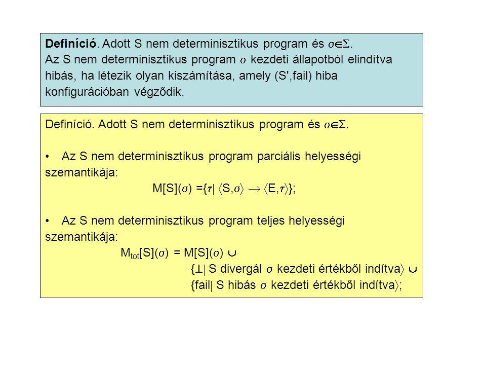 Definíció. Adott S nem determinisztikus program és .
