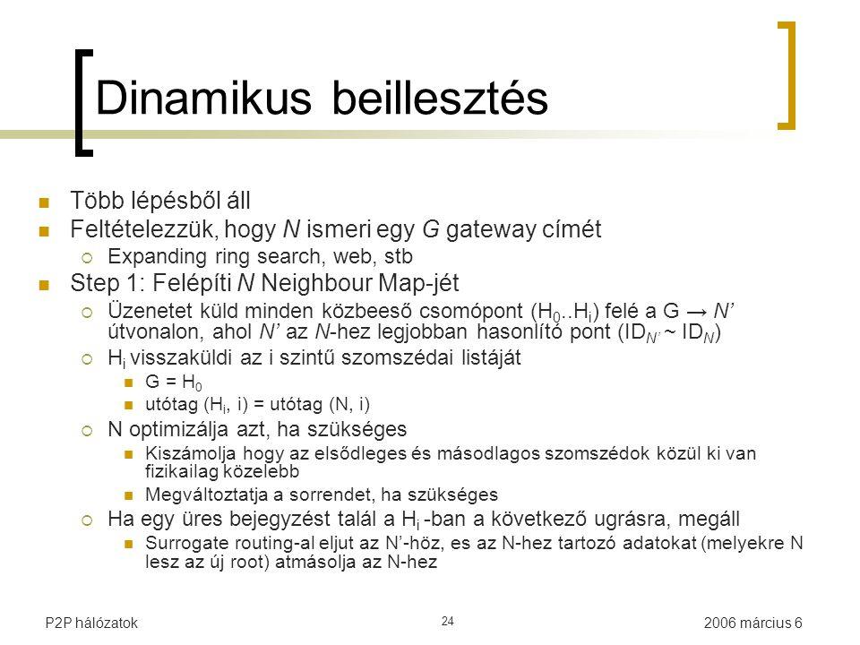 2006 március 6P2P hálózatok 24 Dinamikus beillesztés Több lépésből áll Feltételezzük, hogy N ismeri egy G gateway címét  Expanding ring search, web, stb Step 1: Felépíti N Neighbour Map-jét  Üzenetet küld minden közbeeső csomópont (H 0..H i ) felé a G → N' útvonalon, ahol N' az N-hez legjobban hasonlító pont (ID N' ~ ID N )  H i visszaküldi az i szintű szomszédai listáját G = H 0 utótag (H i, i) = utótag (N, i)  N optimizálja azt, ha szükséges Kiszámolja hogy az elsődleges és másodlagos szomszédok közül ki van fizikailag közelebb Megváltoztatja a sorrendet, ha szükséges  Ha egy üres bejegyzést talál a H i -ban a következő ugrásra, megáll Surrogate routing-al eljut az N'-höz, es az N-hez tartozó adatokat (melyekre N lesz az új root) atmásolja az N-hez