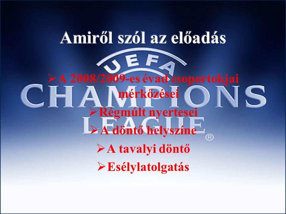  A 2008/2009-es évad csoportokjai mérkőzései  Régmúlt nyertesei  A döntő helyszíne  A tavalyi döntő  Esélylatolgatás