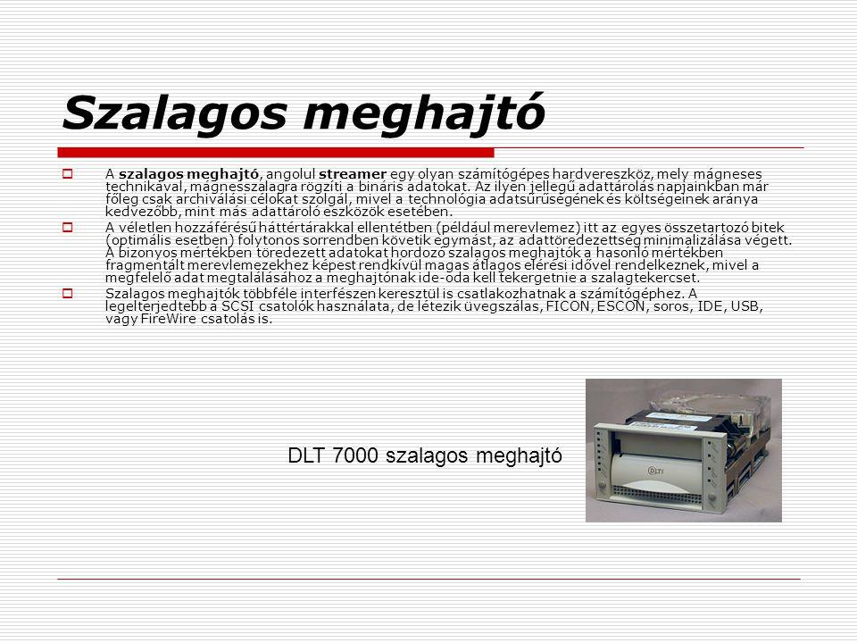 Szalagos meghajtó  A szalagos meghajtó, angolul streamer egy olyan számítógépes hardvereszköz, mely mágneses technikával, mágnesszalagra rögzíti a bi