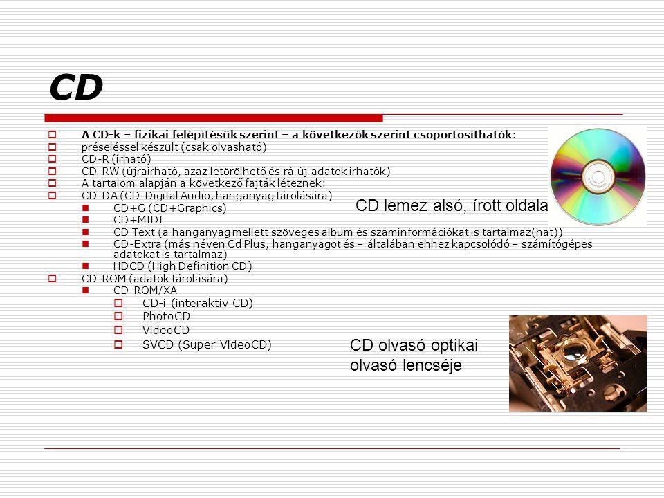 CD  A CD-k – fizikai felépítésük szerint – a következők szerint csoportosíthatók:  préseléssel készült (csak olvasható)  CD-R (írható)  CD-RW (újraírható, azaz letörölhető és rá új adatok írhatók)  A tartalom alapján a következő fajták léteznek:  CD-DA (CD-Digital Audio, hanganyag tárolására) CD+G (CD+Graphics) CD+MIDI CD Text (a hanganyag mellett szöveges album és száminformációkat is tartalmaz(hat)) CD-Extra (más néven Cd Plus, hanganyagot és – általában ehhez kapcsolódó – számítógépes adatokat is tartalmaz) HDCD (High Definition CD)  CD-ROM (adatok tárolására) CD-ROM/XA  CD-i (interaktív CD)  PhotoCD  VideoCD  SVCD (Super VideoCD) CD lemez alsó, írott oldala CD olvasó optikai olvasó lencséje