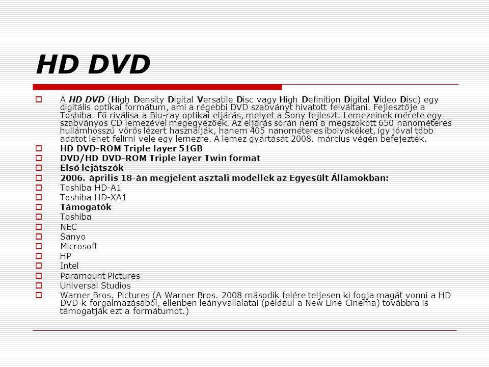 HD DVD  A HD DVD (High Density Digital Versatile Disc vagy High Definition Digital Video Disc) egy digitális optikai formátum, ami a régebbi DVD szab