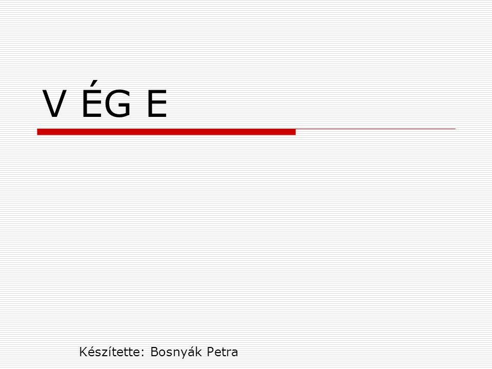 V ÉG E Készítette: Bosnyák Petra