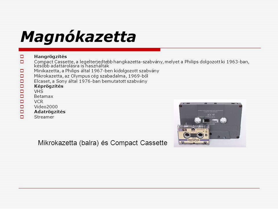 Magnókazetta  Hangrögzítés  Compact Cassette, a legelterjedtebb hangkazetta-szabvány, melyet a Philips dolgozott ki 1963-ban, később adattárolásra is használták  Minikazetta, a Philips által 1967-ben kidolgozott szabvány  Mikrokazetta, az Olympus cég szabadalma, 1969-ből  Elcaset, a Sony által 1976-ban bemutatott szabvány  Képrögzítés  VHS  Betamax  VCR  Video2000  Adatrögzítés  Streamer Mikrokazetta (balra) és Compact Cassette