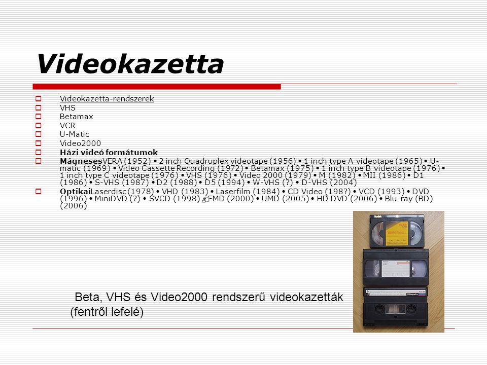 Videokazetta  Videokazetta-rendszerek  VHS  Betamax  VCR  U-Matic  Video2000  Házi videó formátumok  MágnesesVERA (1952) 2 inch Quadruplex vid