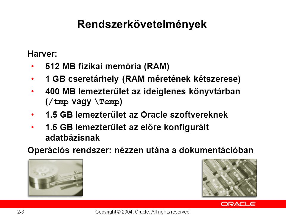 2-14 Copyright © 2004, Oracle. All rights reserved. Fájlok helye